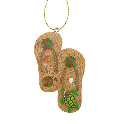 Beachcombers 3.55-inch Resin Flip Flop Pair Hanging Ornament