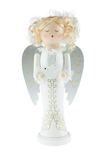 Clever Creations Blonde Angle Nutcracker | Angle Nutcracker Wears a Gold Halo and Holds a White Dove | 100% Wood | Angle Stands at 10″ Perfect for Shelves and Tables