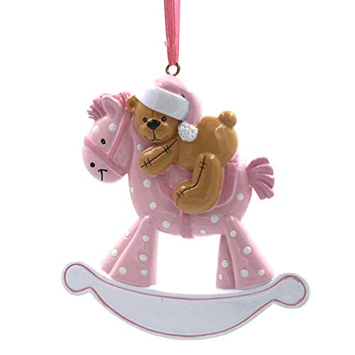 Rudolph and Me Baby's First Christmas Ornaments 2018,Personalize Christmas Ornament,Free Pen with Gifts Box Provided, Made of Resin (Horse-Pink)