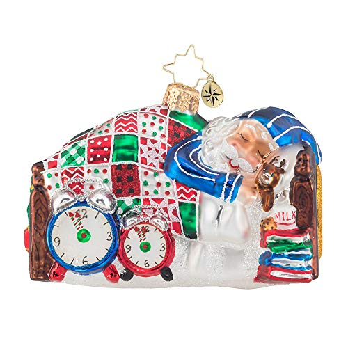Christopher Radko Sleepy Mr. Claus Christmas Ornament, Blue, red, White, Green