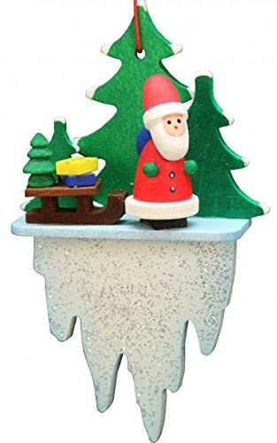 Alexander Taron 10-0626 Christian Ulbricht Ornament – Santa on Icicle – 3″ H x 1.75″ W x .75″ D Green