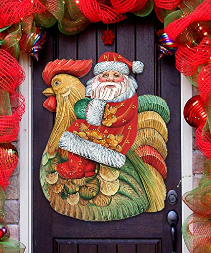 Christmas Decorations – Santa on Rooster Wall/Door Christmas Decor G.DeBrekht 8111340H