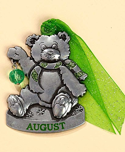 Gloria Duchin Birthstone Bear – August Christmas Ornament, Silver and Red