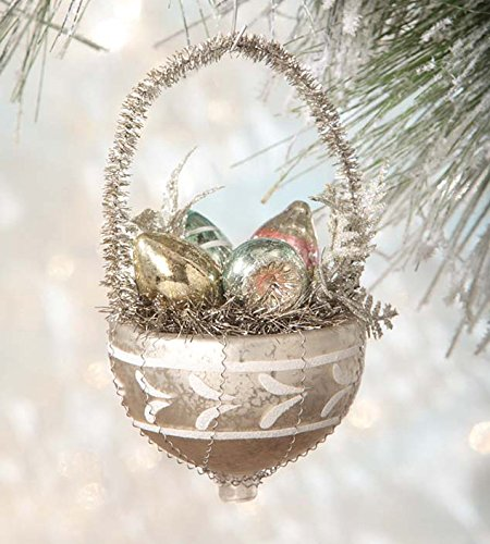 Bethany Lowe Glass Bobbles in Basket Ornament