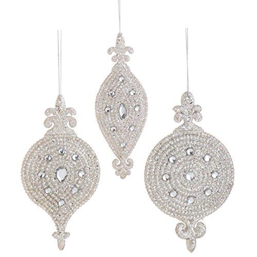 RAZ Imports – 6″ Glittered Finial Ornaments – Set of 3