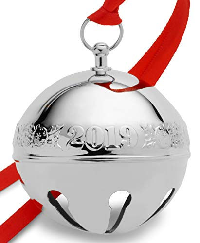 Wallace 2019 Silver-Plate Sleigh Bell-49th Edition (Holly & Ornaments) Holiday Ornament Metal