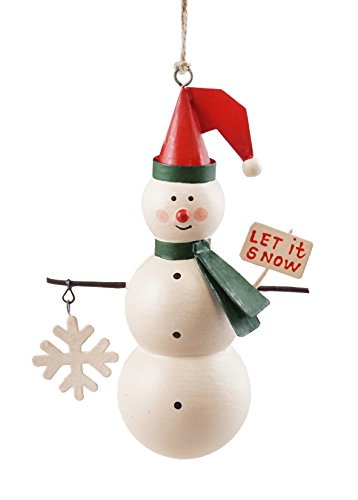 Creative Co-op Let it Snow Tin Snowman Hanging Christmas Ornament