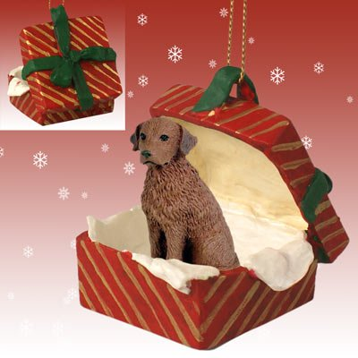 Conversation Concepts Chesapeake Bay Retriever Gift Box Red Ornament by Eyedeal Figurines