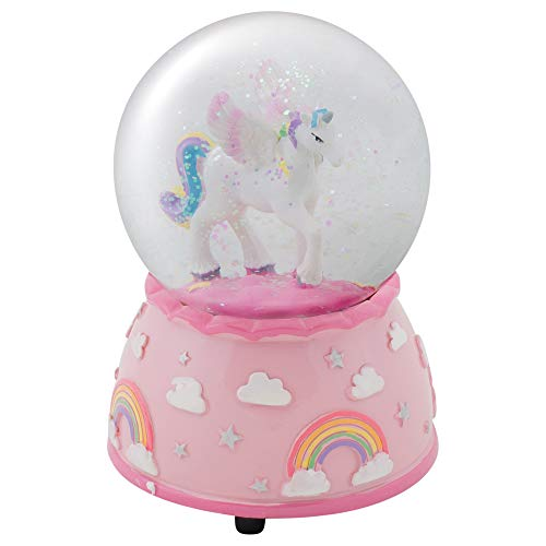 Elanze Designs Unicorn Rainbows on Pink Musical 80MM Water Globe Plays Tune The Unicorn