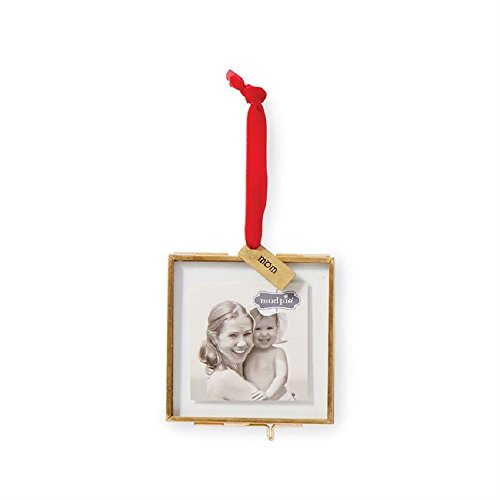 Mud Pie Hanging Glass Mom Ornament Picture Frame, Gold
