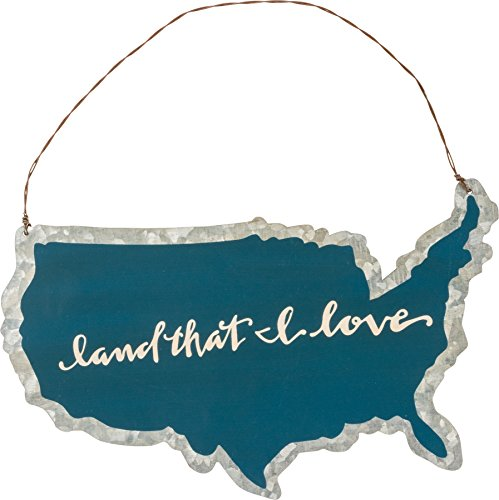 Land That I Love Tin Ornament Small Hanging Sign Primitives by Kathy