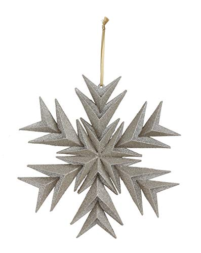 Creative Co-Op Paper Snowflake Ornament with Silver Glitter