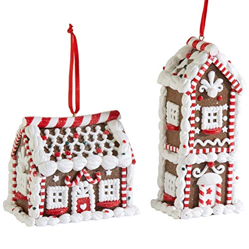 RAZ Imports Assorted Mini Gingerbread House Ornaments – Set of 2