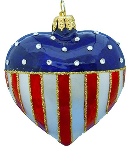Landmark Creations Opal Patriotic Heart with Crystals Hand Blown and Hand Decorated Polish Glass Christmas Ornament