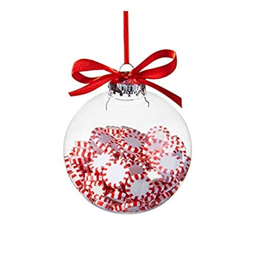 Christmas Peppermint Candy Filled Ornament Ball, 4 Inch