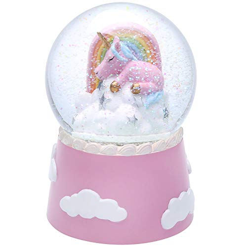 J Jhouselifestyle Unicorn Snow Globe for Kids,Sleeping Unicorn Rotating Inside as Music Plays,Perfect Unicorn Music Box for Girls,Granddaughters Babies Birthday-Pink