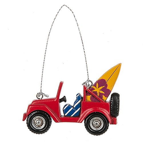 Midwest-CBK Red Jeep with Surf Board Christmas Ornament