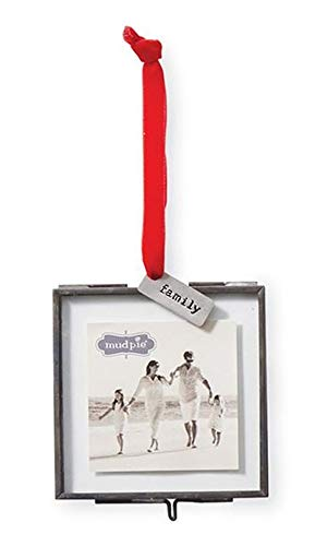 Mud Pie Family Pressed Glass Photo Frame Ornament
