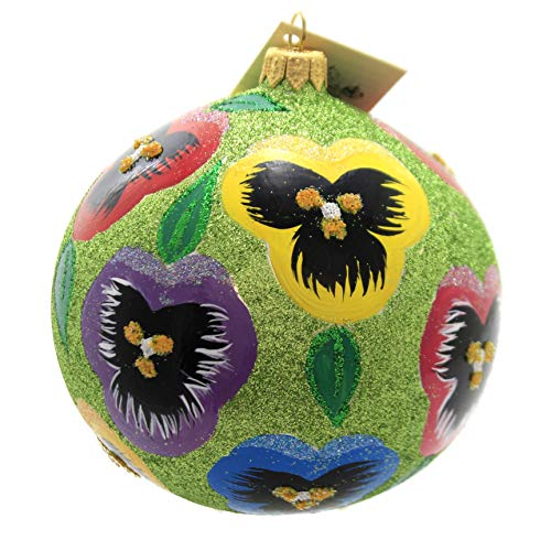 Christina's World Glitter Pansies Glass Ornament Spring Flowers Sun138