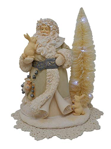 Foundations Holiday Figurine with Westbraid Doily (Santa Spirits Be Bright, 6001151)