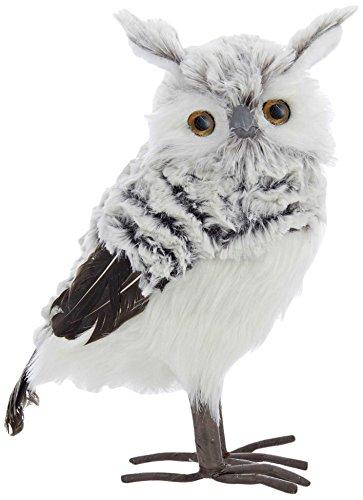 Kurt Adler Owl, 10-Inch, Gray/White