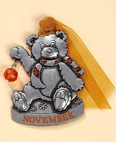 Gloria Duchin Birthstone Bear – November Christmas Ornament, Silver and Red