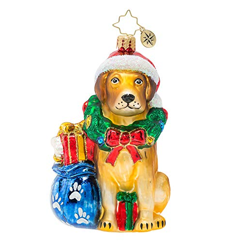 Christopher Radko Wreath Full of Gifts! Noble Yellow Lab Christmas Ornament, Gold