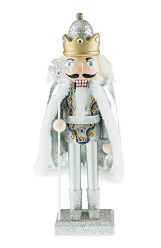 Clever Creations Traditional Snow King with Snowflake Staff | Festive Christmas Decorations | Silver, Gold and Diamonds Outfit | Stands at 10″ Tall Perfect for Selves and Tables | 100% Wood