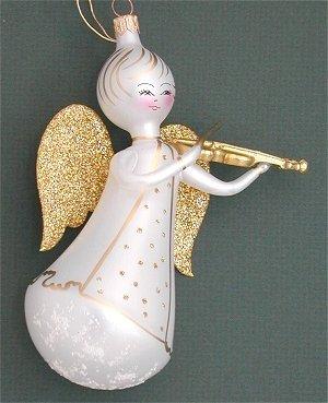 De Carlini Glass Ornament – White Angel With Violin – Italian Ornament – One Ornament
