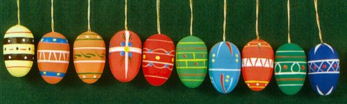 Pinnacle Peak Trading Company 10 Erzgebirge Wood Easter Egg Ornaments Made in Germany New Holiday Decoration