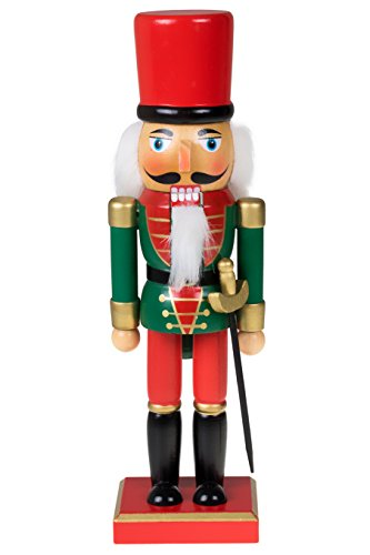 Clever Creations Traditional Christmas Green and Red Soldier Nutcracker | Soldier Outfit with Sword | Festive Christmas Decor | 10″ Tall Perfect for Shelves and Tables