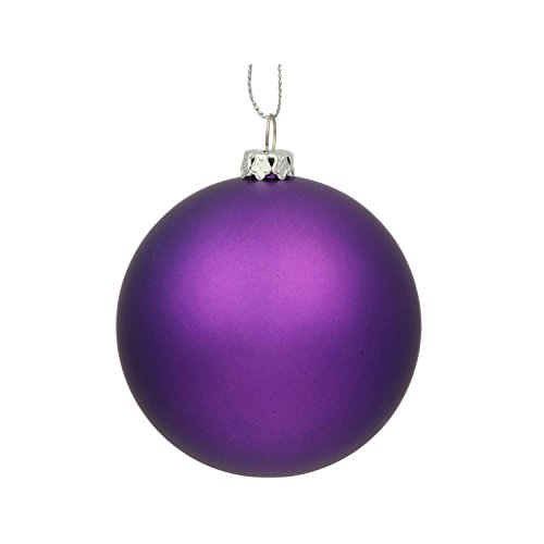 Vickerman Matte Purple UV Resistant Commercial Drilled Shatterproof Christmas Ball Ornament, 15.75″