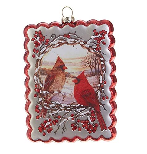 RAZ Imports 5″ Glass Cardinal Postcard Christmas Ornament 3824675