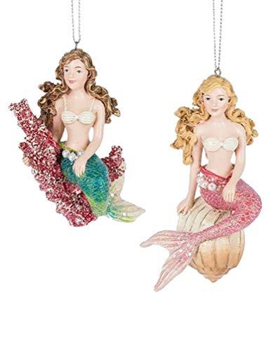 Midwest-CBK Set of 2 Mermaid Ornaments Brunette & Blonde – Resin 4.5″