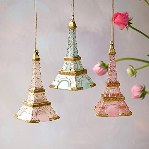 One Hundred 80 Degrees Glass and Glitter Crusted Eiffel Tower Ornaments – Set of 3