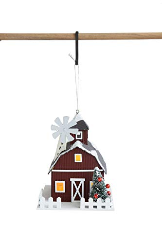 Creative Co-Op Paper Barn Ornament with LED Light, Multicolor