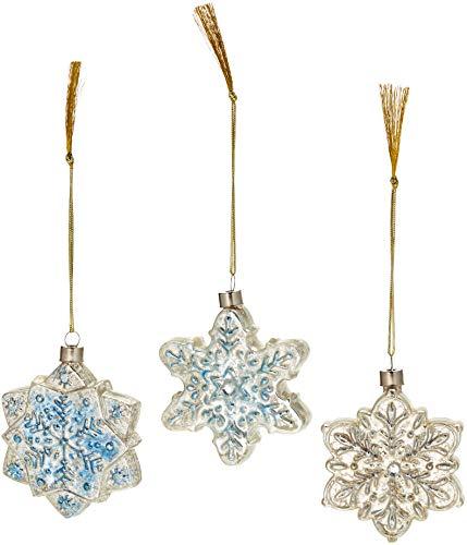 Lenox Vintage Glass Snowflake Ornaments, Set of 3