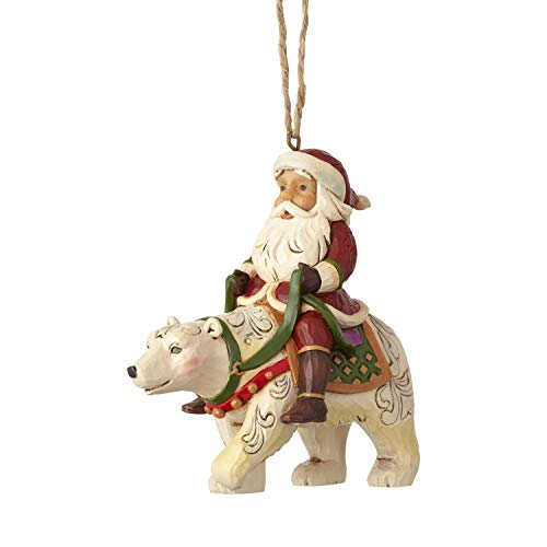 Enesco Jim Shore Heartwood Creek Santa Riding a Polar Bear Hanging Ornament 3.875″ Multicolor