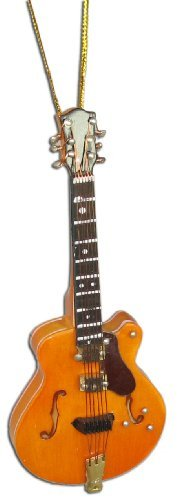 Miniature Orange Hollow-Body Guitar Christmas Ornament 4 by BHB Glass & More