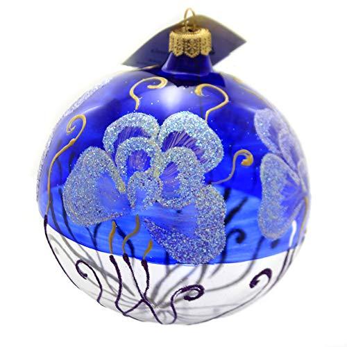 Christina's World Cobalt Ginko Glass Ornament Tree Leaves Ros740