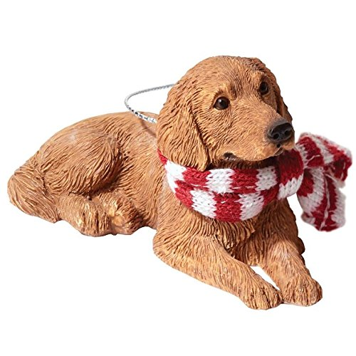 Sandicast Golden Retriever with Red and White Scarf Christmas Ornament