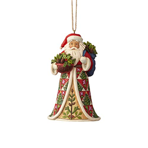 Enesco Jim Shore Heartwood Creek Pinecone Santa Hanging Ornament 4.875″ Multicolor