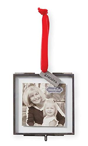 Mud Pie Grandma Pressed Glass Photo Frame Ornament