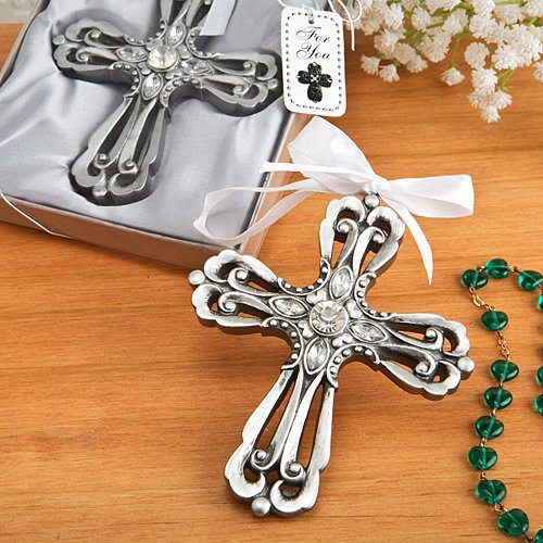Silver Cross Ornament with Antique Finish – Set of 3