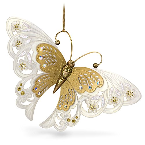 Hallmark Keepsake Christmas Ornament 2018 Year Dated, Brilliant Butterflies Gold and White