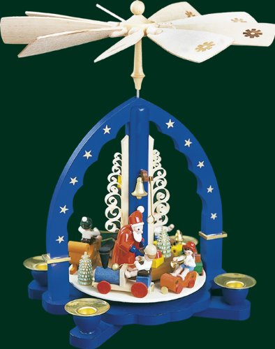 Blue Tealight Pyramid Santa and Christmas Train, 10.8 Inches