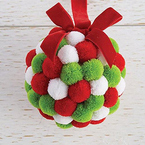 RAZ Imports Raz 4.25″ Red, Green, and White Pom Pom Ball Christmas Ornament 3802425