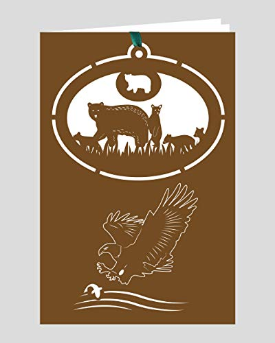 Crystal Delight by Mascot (Set of 3) Greeting Card with Ornament – Black Bear Bald Eagle