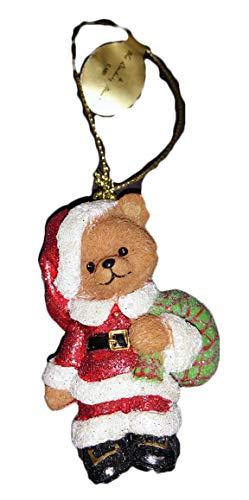 Danbury Mint Teddy Bear Glitter Ornament, Santa Bear, 3 inches high
