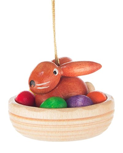 Alexander Taron 224-061F Dregeno Easter Ornament – Rabbit in Nest String – 1.25″ H 1,25″ W x 1″ D, Brown